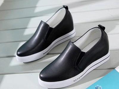 金贵鸟女鞋2020舒适简约内增高圆头真皮休闲鞋