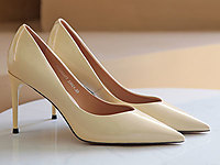 迪尼莎2020春季新款单鞋漆皮尖头细跟女鞋