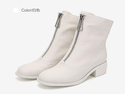 GNC冬季时尚倒靴前拉链帅气马丁靴女英伦风粗跟