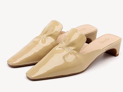 GNC女鞋2020新款漆皮中跟时尚百搭一脚蹬潮