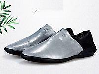 凯萨罗帝真皮单鞋平底休闲软面后绊带圆头妈妈鞋