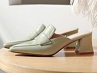 nikbea尼可�安2020新款高跟女粗跟拖鞋穆勒鞋