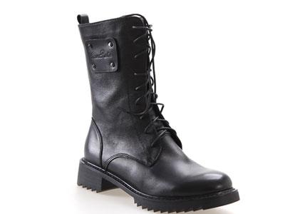 凯萨罗帝加绒马丁靴高靴经典真皮舒适中高靴