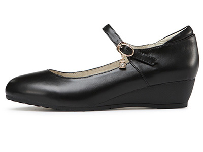 Soodmall舒道春秋坡跟工作鞋女黑色圆头单鞋