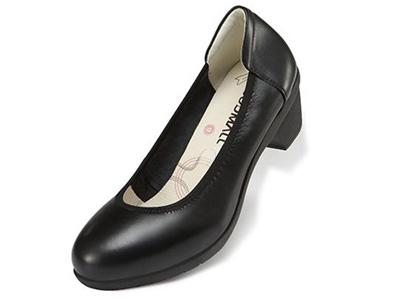 Soodmall舒道女士中低跟单鞋女春秋圆头工鞋
