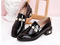 卡芙琳新款韩版水钻珍珠粗跟单鞋英伦小皮鞋