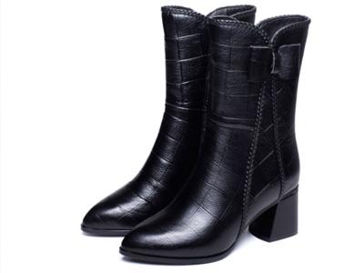 芬妮丝女靴秋季新款粗跟马丁靴真皮
