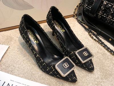 绘会-huihui2020新款尖头细跟5cm小香风单鞋