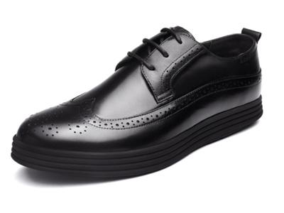 皮王狮丹布洛克雕花男鞋冬季新款厚底真皮单鞋