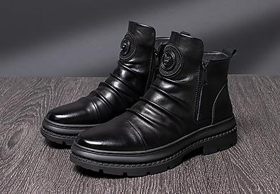 承发皮鞋男2020新款马丁靴男新款真皮透气工装鞋
