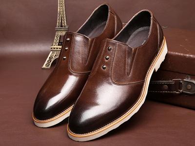查理男鞋商务休闲低帮鞋真皮纯色套脚皮鞋
