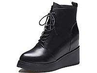 YLN悦丽娜2020新款马丁靴女内增高裸靴真皮棉鞋