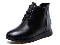 YLN悦丽娜2020新款真皮鞋子黑色软皮女士短靴绑带