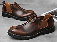 宾渡男鞋真皮英伦风马丁靴工装大头皮鞋