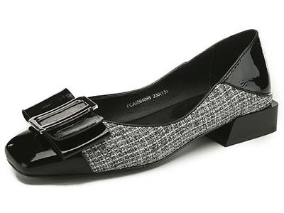 BAFFN芭芬新品真皮格子布方头方跟布洛克单鞋