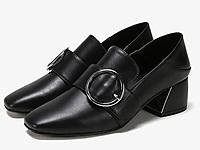 SHOEBOX鞋柜英伦小皮鞋百搭中跟鞋时尚搭扣乐福鞋