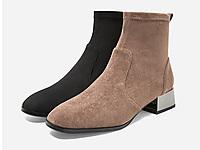 百丽弹力靴女冬商场同款绒布显瘦加绒粗跟短靴