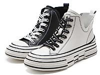 森达冬新款韩版潮流厚底休闲女真皮帆布鞋短靴