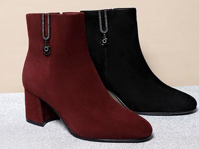 森達冬季新款絨面舒適加絨保暖粗跟女短靴