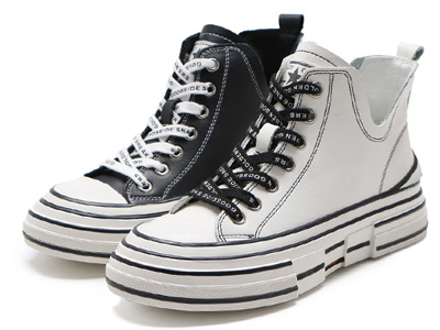 森達冬新款韓版潮流厚底休閑女真皮帆布鞋短靴