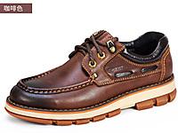 西瑞男休闲皮鞋真皮内增高男鞋秋冬加绒工装鞋