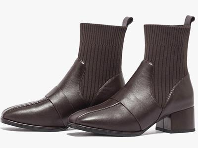 星期六弹力靴2020冬季新款学院风粗跟鞋
