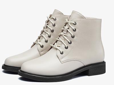 意爾康女鞋2020春秋季新款真皮馬丁靴