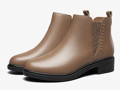 意爾康女鞋2020春秋新款真皮切爾西休閑小短靴
