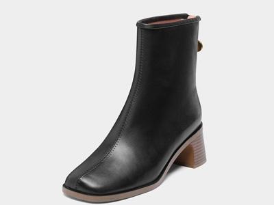 千百度女鞋真皮中粗跟短靴-2020新款女靴