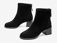 百思图2020冬季新款时尚圆头粗跟后拉链女皮短靴