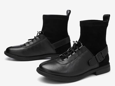 百思图2020冬季新款复古时尚圆头方跟女皮短靴