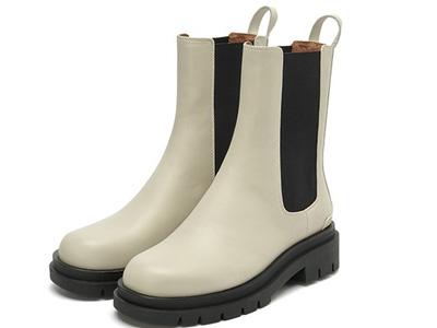 思加图2020冬季新款烟筒靴厚底复古切尔西靴