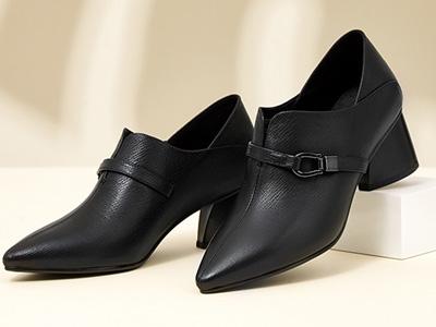 红蜻蜓女鞋2020秋新款英伦风皮鞋百搭粗跟单鞋