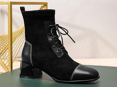 红蜻蜓女鞋2020秋新款真皮粗跟百搭短靴