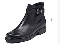 �廴崾�AEROSOLES新款冬季牛皮低跟�扣�C�靴