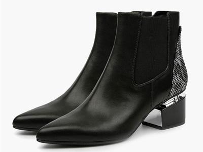 伊伴經典牛皮切爾西靴秋冬英倫風休閑平底短筒靴
