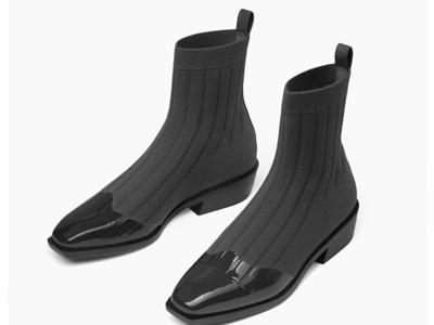 CHARLES&KEITH秋冬女靴CK1-91680055低跟拼接袜靴