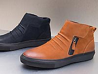 奥康男鞋-秋冬季男士高帮休闲皮鞋真皮舒适板鞋
