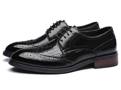 澳伦男鞋冬季真皮系带尖头英伦布洛克雕花休闲鞋