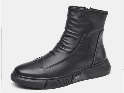 澳伦皮靴男冬季高帮鞋马丁靴软真皮潮男休闲鞋