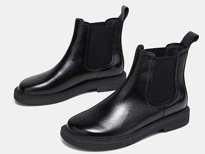 色非2020秋冬新款切爾西靴女真皮短筒