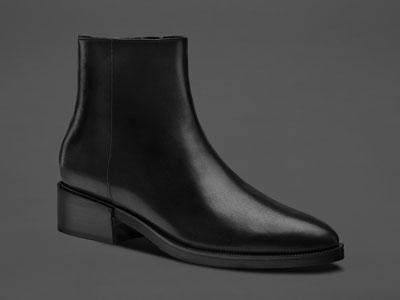 烫社交女鞋黑色头层小牛皮尖头平底切尔西短靴