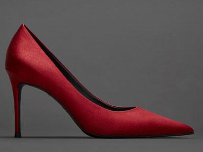 烫社交女鞋红色真丝超细高跟鞋尖头浅口