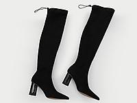 �W�_巴秋冬新款瘦瘦�L靴粗跟�L筒加�q�@瘦��力靴