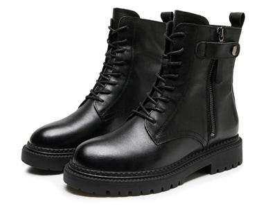 欧米高侧拉链女鞋牛皮马丁靴网红加绒白底机车靴