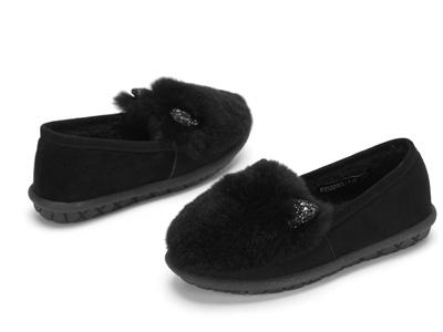 西村名物毛毛鞋女新款冬季外穿平厚底豆豆鞋