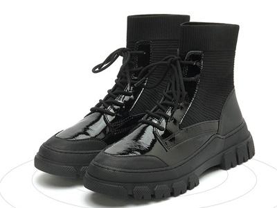 millies妙丽2020冬季新款漆牛皮运动厚底短靴