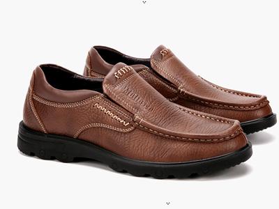 木林森男鞋加绒商务透气皮鞋男中老年鞋子男士真皮休闲