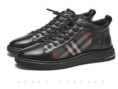 保羅蓋帝男鞋2020冬季新款加絨真皮休閑鞋男板鞋