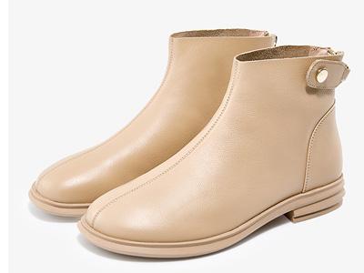 哈森2020秋冬新款女短靴法式圆头后拉链复古百搭